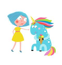 Girl unicorn eating ice cream cartoon vector