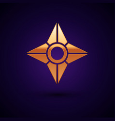 Gold japanese ninja shuriken icon isolated on dark vector