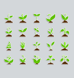 grass patch sticker icons set vector image