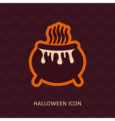Halloween witch cauldron silhouette icon vector