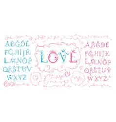 hand drawn cute alphabet valentine s day love vector image