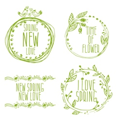 Hand drawn spring labels with flowersbranches and vector