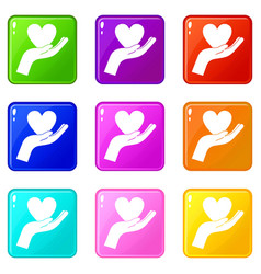 Hand holding heart icons 9 set vector