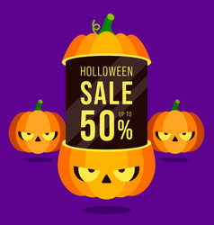 Happy halloween sale promotion banner and special vector