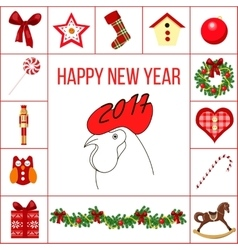 Happy new year and christmas greeting card with vector image