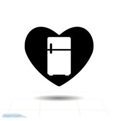 heart black icon love symbol - fridge in heart vector image