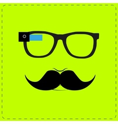 Hipster wearing smart glasses vector