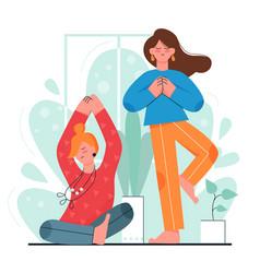 Home yoga meditation girl friends vector