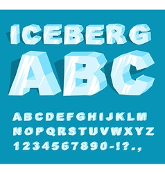 Iceberg font Ice alphabet Set of letters from cold vector