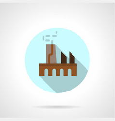 Industrial building flat round icon vector