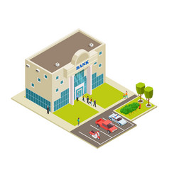 isometric bank location with people cars vector image