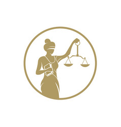 Justice and law blindfold woman with scales vector