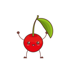 Kawaii cherry fruit image vector