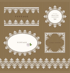 Lace decorative frame and border set lacy doilies vector