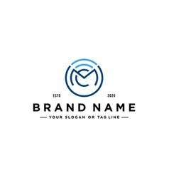 Letter mc tech logo design vector