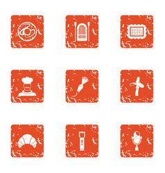 Livelihood icons set grunge style vector