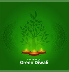 Lovely green happy diwali creative greeting vector