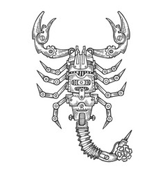Mechanical scorpio animal engraving vector