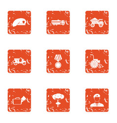 Military court icons set grunge style vector