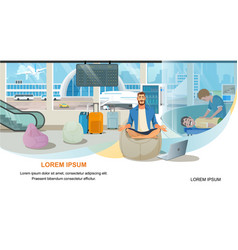 modern airport passenger services website vector image