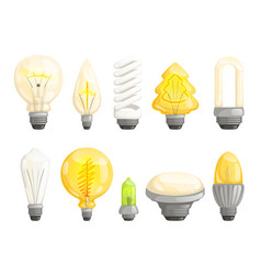modern bulbs collection idea lamp lighting vector image
