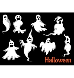 Night halloween ghosts set vector