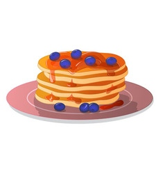 Pancakes on plate with blueberries and honey vector image