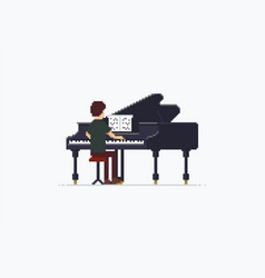 Pixel art grand piano vector