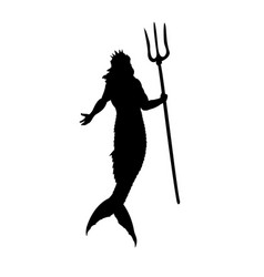 Poseidon neptune god silhouette mythology fantasy vector