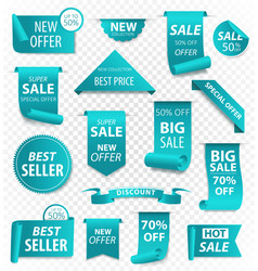 price tags ribbon banners sale promotion vector image