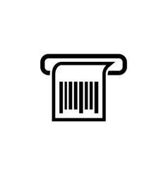 Print receipt barcode chek flat icon vector