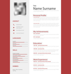 Professional red white resume cv design template vector