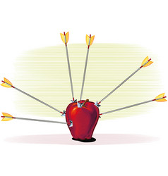 red apple hit by arrows vector image