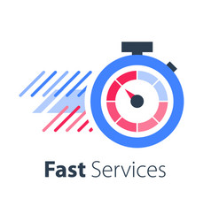 Red stopwatch in motion fast services vector