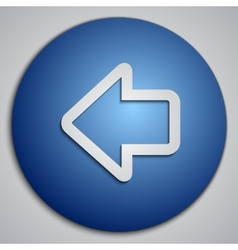 Round blue left arrow button made as paper cut vector