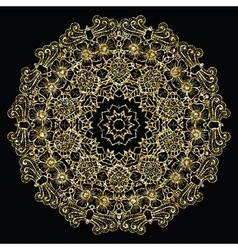 Round golden mandala vector