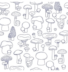 seamless mushrooms pattern vector image