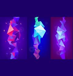 set 3d geometric shapes facet vertical vector image