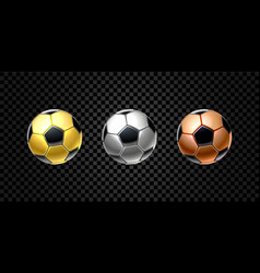 set 3d realistic football ball in golden vector image