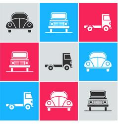 Set car volkswagen beetle car and delivery cargo vector