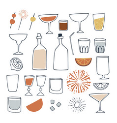 Set hand drawn alcoholic and non alcoholic vector