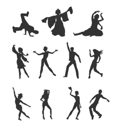 Set of Dancing Peoples Flat vector image