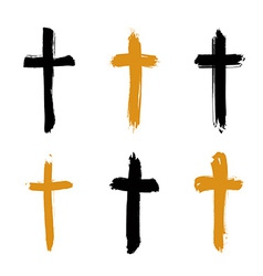 Set of hand-drawn black and yellow grunge cross vector
