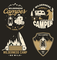 Set of happy camper outdoor adventure symbol vector