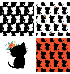 set of seamless cat pattern and kitty silhouette vector image