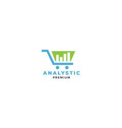 Shopping cart trolley analytic graph logo design vector