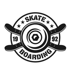 skateboarding emblem with wheel and decks vector image