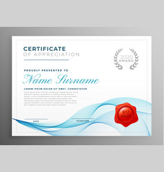 Stylish blue certificate of appreciation template vector