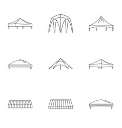 Sunshade icons set outline style vector