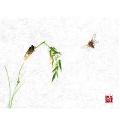 two cicadas and bamboo branch on rice paper vector image
